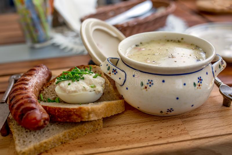 Zurek - παραδοσιακή πολωνική σούπα στοκ φωτογραφία με δικαίωμα ελεύθερης χρήσης
