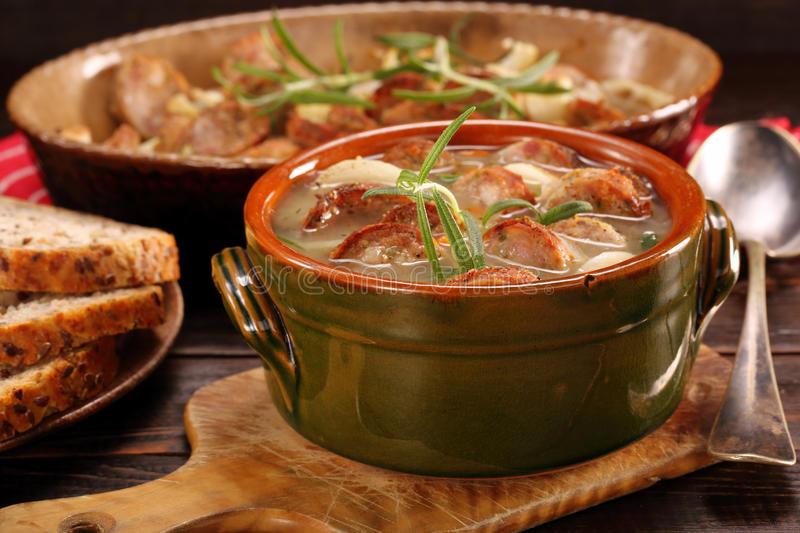 Zurek traditional polish easter soup with white sausage stock photography