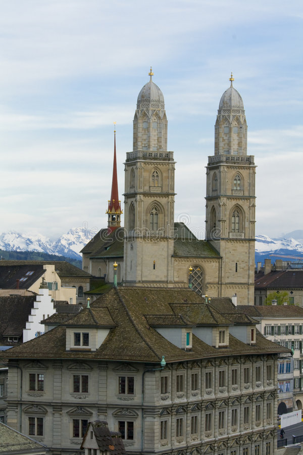 Zurich city. Zurich Cathedral. stock photos