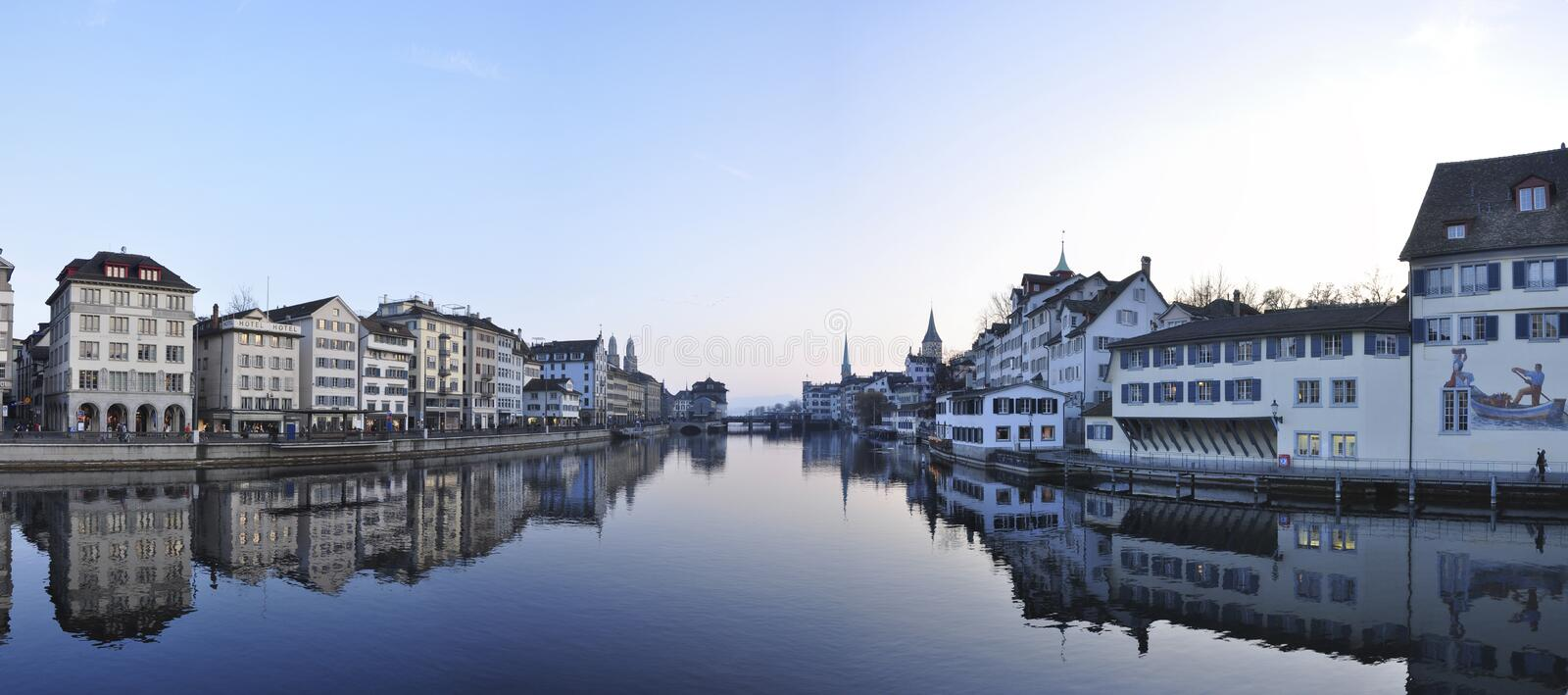 Zurich cityscape in dusk royalty free stock image