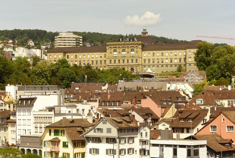 Zurich cityscape from Lindenhof with Swiss Federal Institute of royalty free stock photos