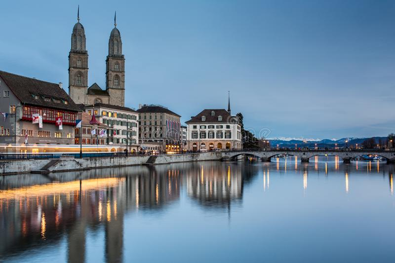Zurich cityscape - nightshot. Of town royalty free stock images