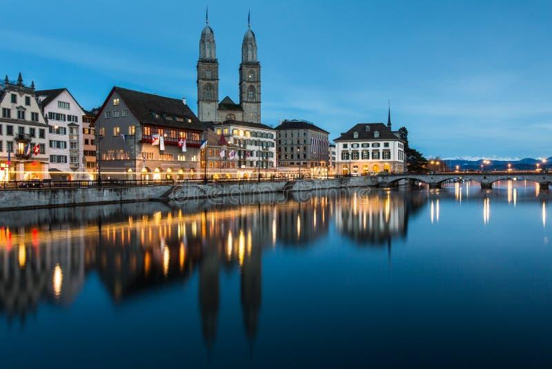 Zurich cityscape - nightshot. Wiev of Zurich cityscape - nightshot royalty free stock images