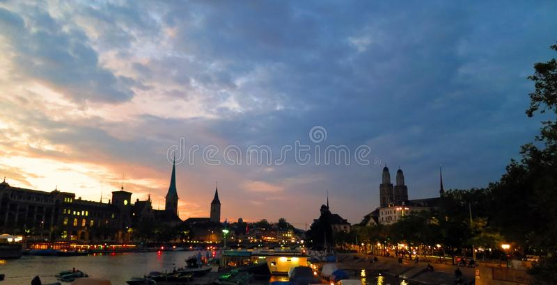 Zurich at Dusk royalty free stock photos