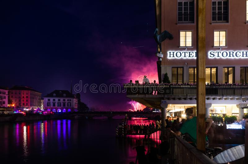 Zurich festival celebrations fireworks crowds and buildings. 2019 stock photos