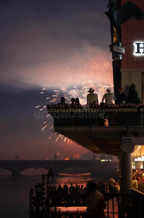 Zurich festival celebrations fireworks crowds and buildings. 2019 stock image