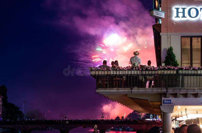 Zurich festival celebrations fireworks crowds and buildings. 2019 royalty free stock photography