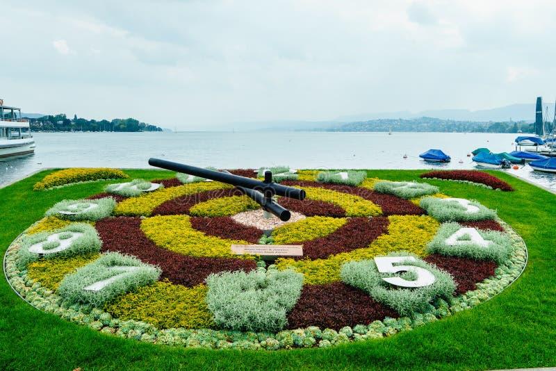 Zurich Flower Clock. Flower Clock in Zurich, Switzerland. Photo taken on: April 01, 2014 stock photography