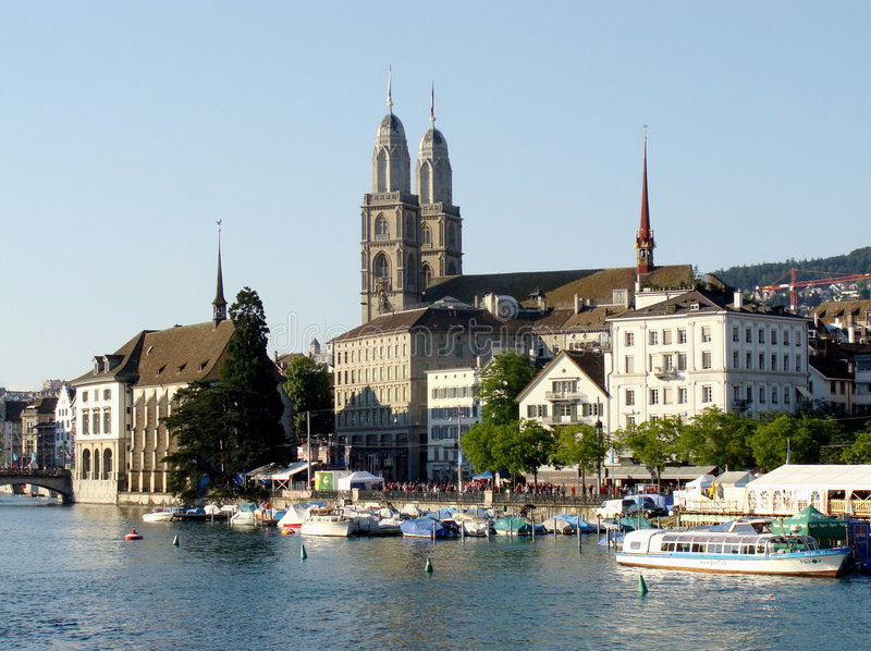 Zurich and Limmat stock photo