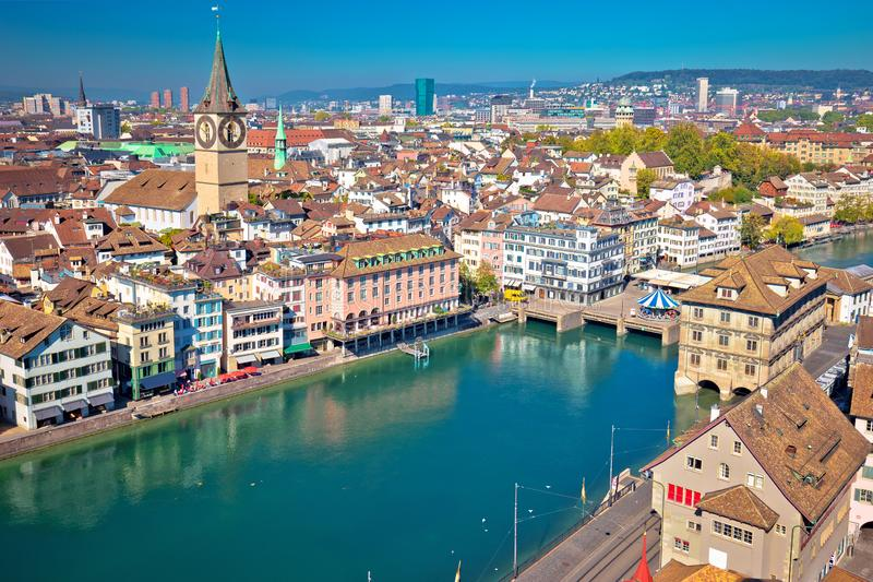 Zurich and Limmat river waterfront aerial view stock photography