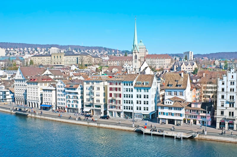 Zurich from the Lindenhof stock photography