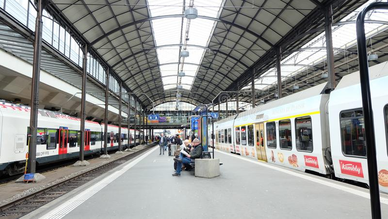 Zurich main station, cff, train, transpotation. In Switzerland royalty free stock photography