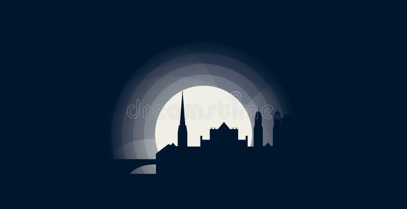 Zurich miasta linii horyzontu sylwetki loga wektorowa ilustracja ilustracja wektor
