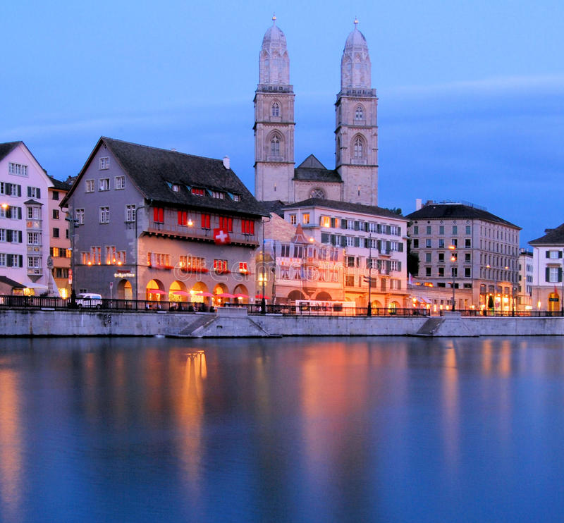 Zurich at night royalty free stock photos
