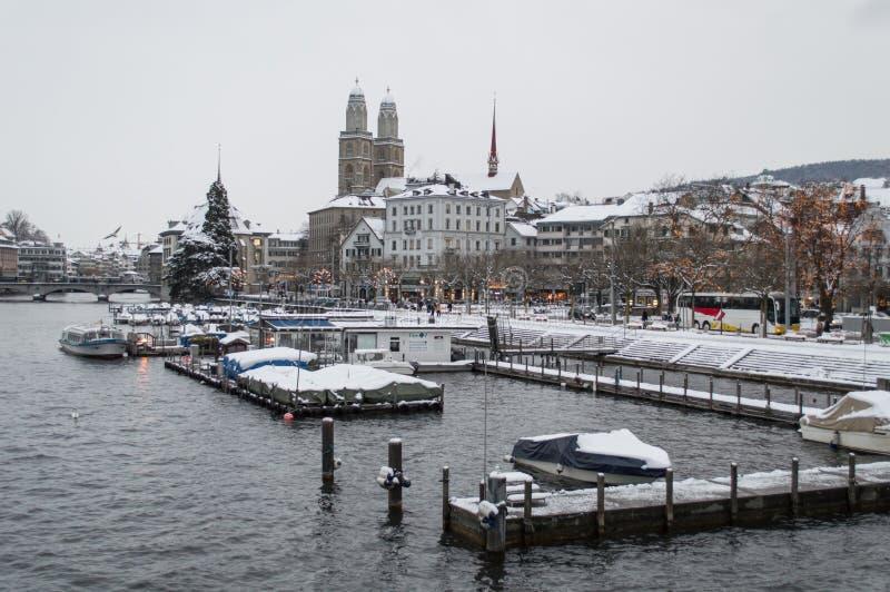 Zurich och dess sjö royaltyfria foton