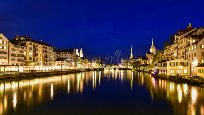 Zurich reflection during twilight blue hour royalty free stock photo