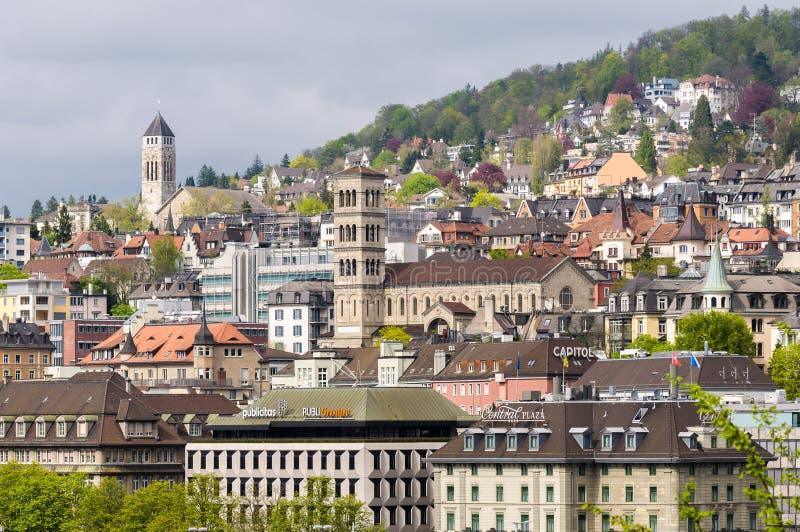 Zurich Schweiz: Gammalt centrum arkivbild