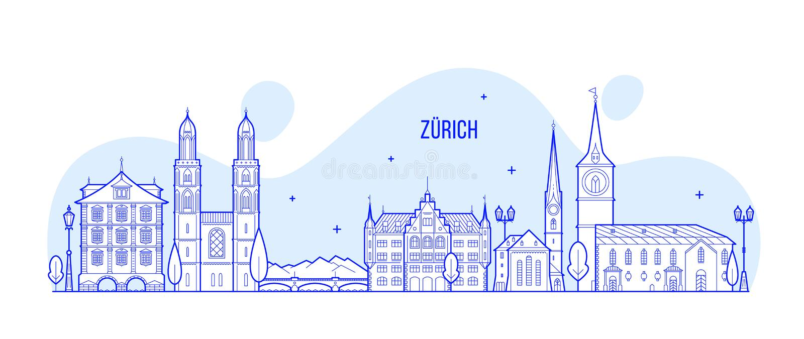 Zurich skyline Switzerland city buildings vector vector illustration