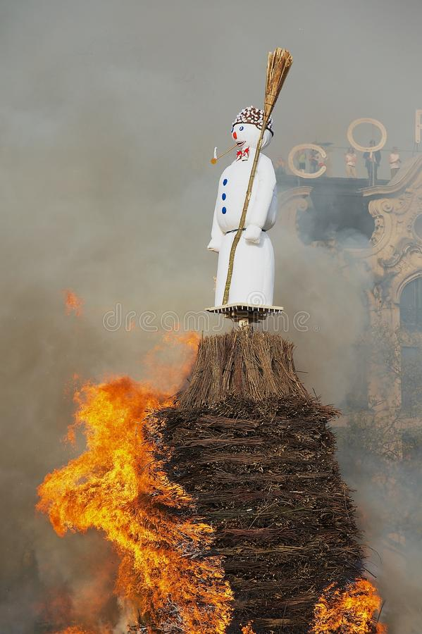 Snowman being burned during Sechselauten traditional festival in Zurich, Switzerland. royalty free stock images