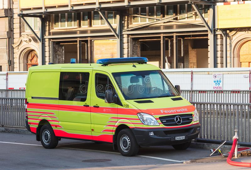 A van of the Fire Department of the city of Zurich. Zurich, Switzerland - August 26, 2018: a van of the Fire Department of the city of Zurich parked at a royalty free stock photo
