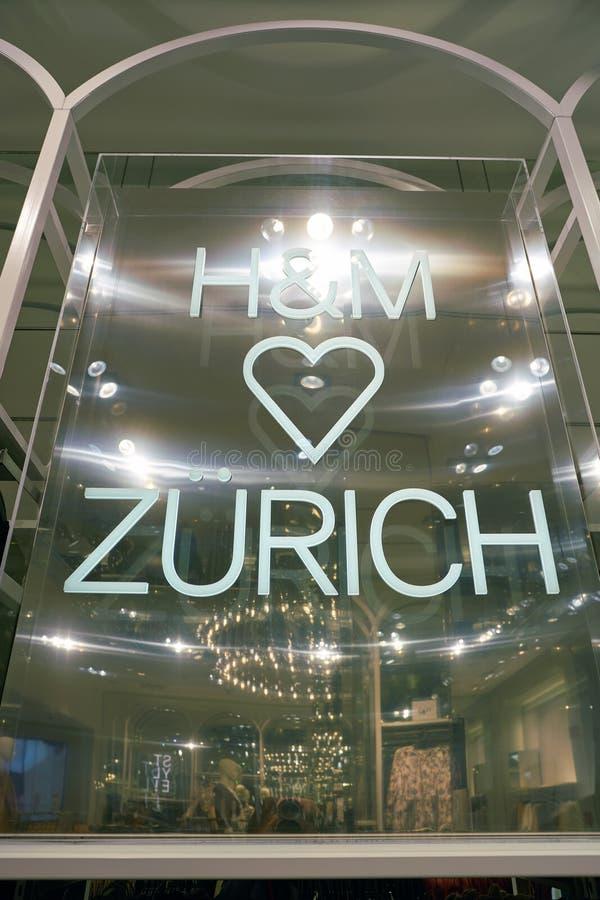 Apparel store. ZURICH, SWITZERLAND - CIRCA OCTOBER, 2018: interior shot of H&M store in Zurich stock photo