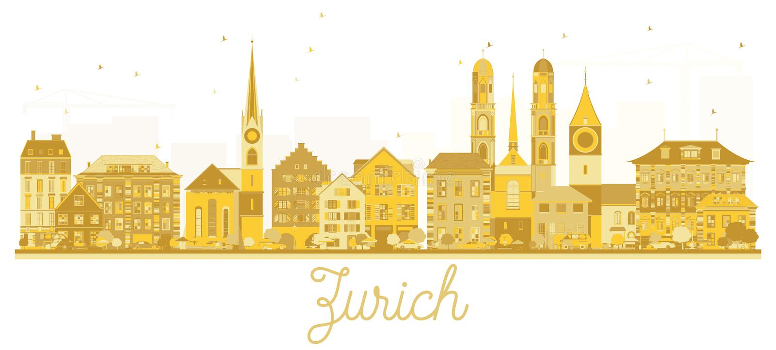 Zurich Switzerland City skyline golden silhouette. vector illustration