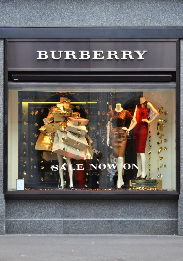 ZURICH, SWITZERLAND - DECEMBER 29, 2013 - Burberry shop, a Briti. Sh luxury fashion house, distributing clothing and fashion accessories and licensing fragrances stock photography