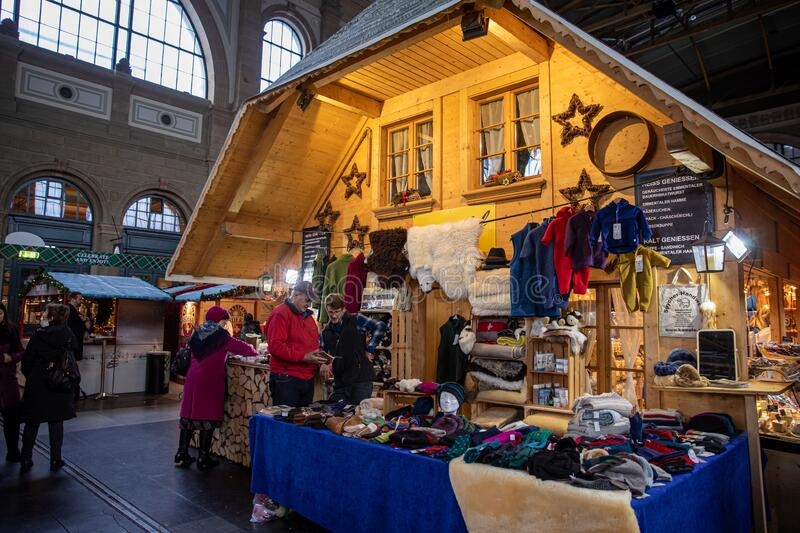 December 19,2019-Zurich, Switzerland: Shop with woolen knitted products for all family sweaters, vests, hats and for royalty free stock photography