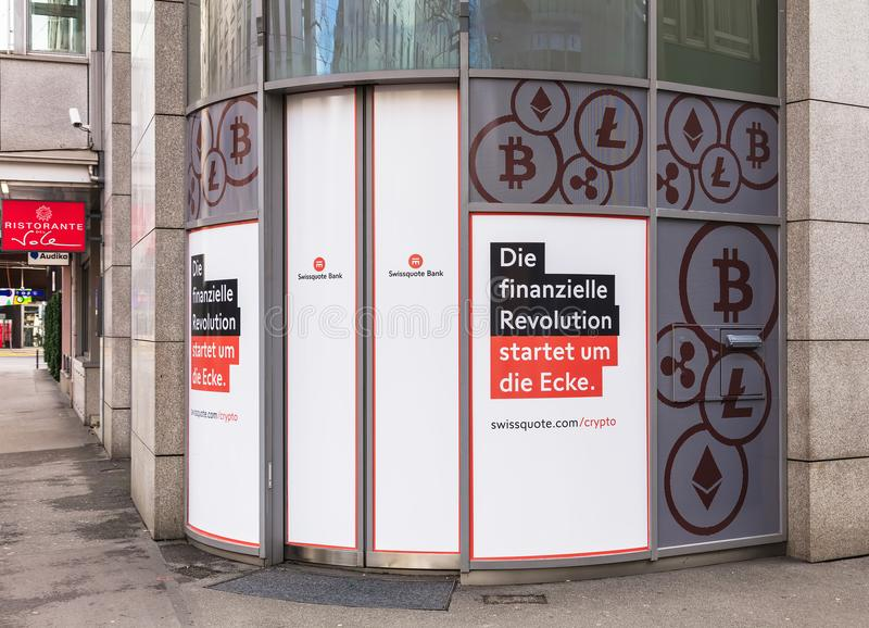 Entrance to the ofiice of the Swissquote Bank on Lowenstrasse st royalty free stock photo