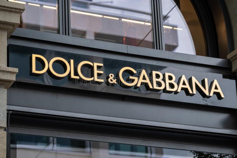 Dolce and Gabbana logo at the brand store facade stock images