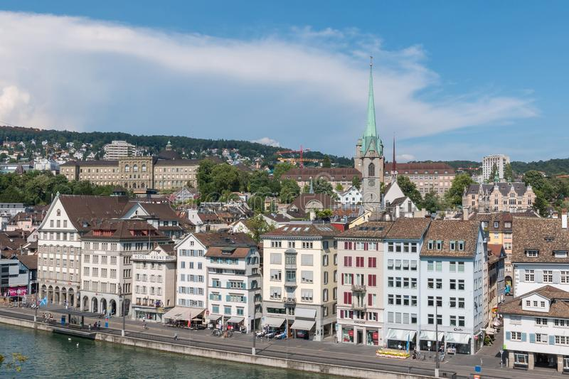 Aerial view of historic Zurich city center and river Limmat from Lindenhof pa stock image