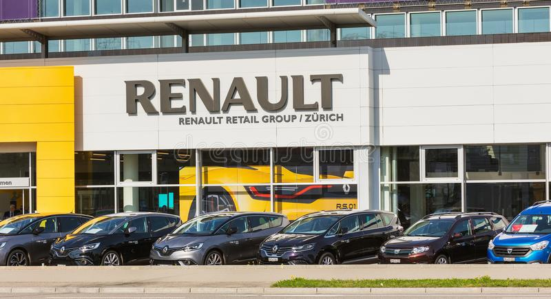 Building of the Renault Retail Group on Thurgauerstrasse street. Zurich, Switzerland - 29 March, 2017: partial view of the building of the Renault Retail Group royalty free stock images