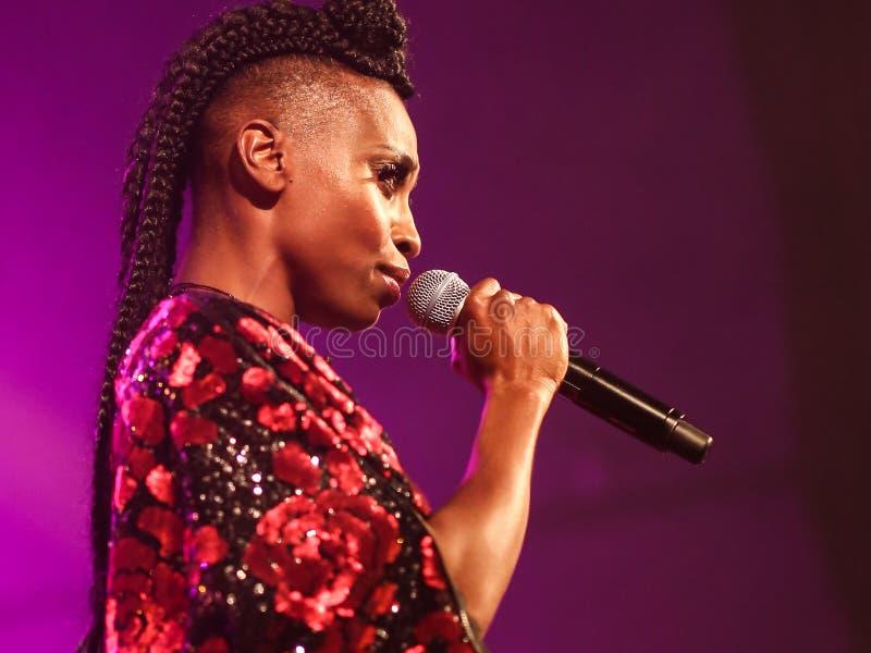 Beautiful singer Skye Edwards singing live stock image