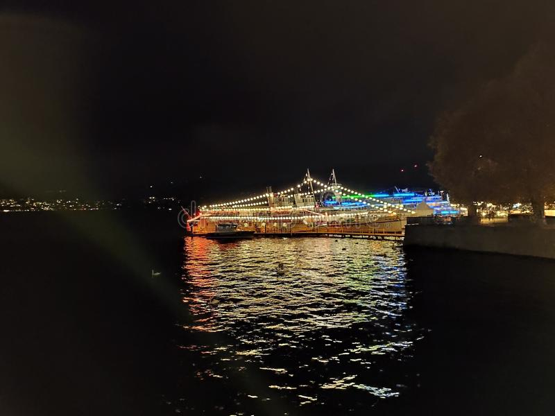 Zurich Switzerland night scenery from the lake royalty free stock photography
