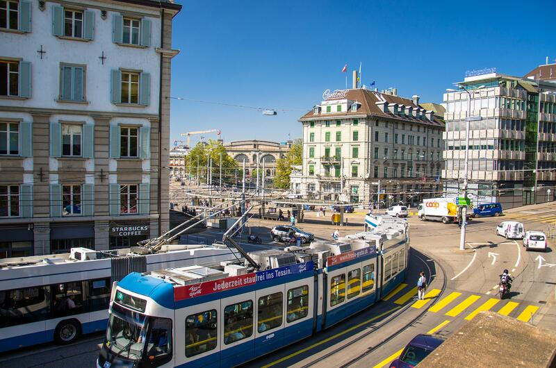 Zurich, Switzerland - September 13, 2016: City tram in the square of Zurich city. Switzerland stock image