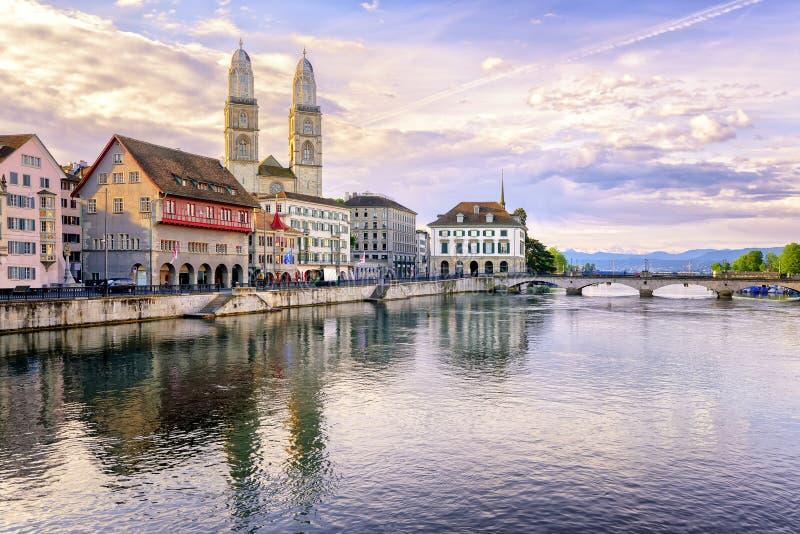Zurich, Switzerland. View of Water Church and Limmat River, Zurich, Switzerland royalty free stock images