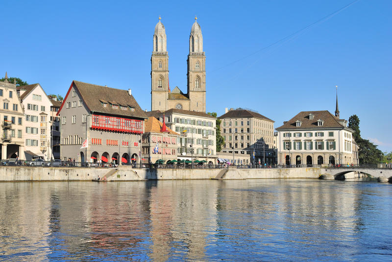 Zurich. Vieux remblai de ville photos libres de droits
