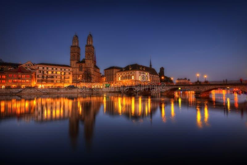 Zurich zmierzch zdjęcie stock