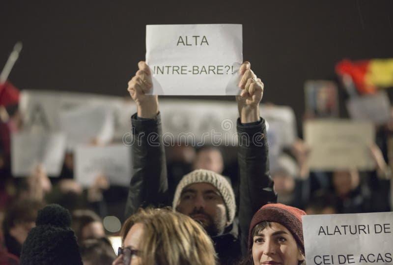 Zurigo, il 5 febbraio 2017 Protesti per solidarietà con la protesta contro il governo a Bucarest fotografie stock