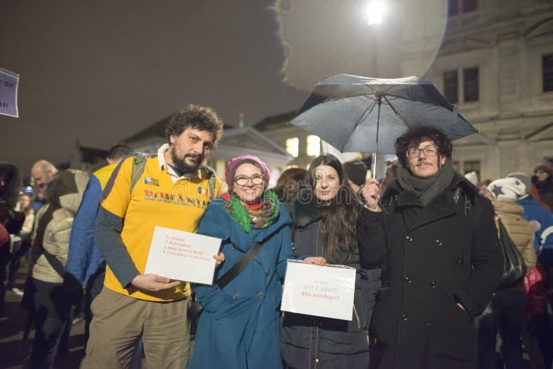 Zurigo, il 5 febbraio 2017 Protesti per solidarietà con la protesta contro il governo a Bucarest fotografie stock libere da diritti