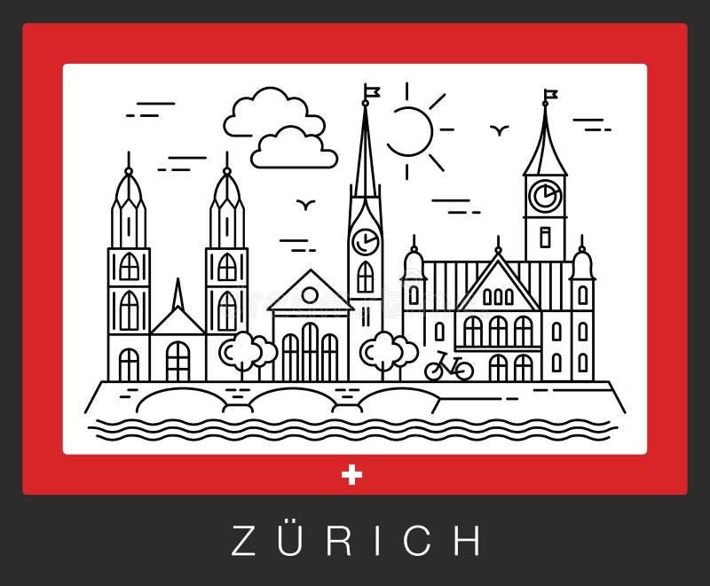 Zurigo, Svizzera Vista delle attrazioni della città illustrazione vettoriale
