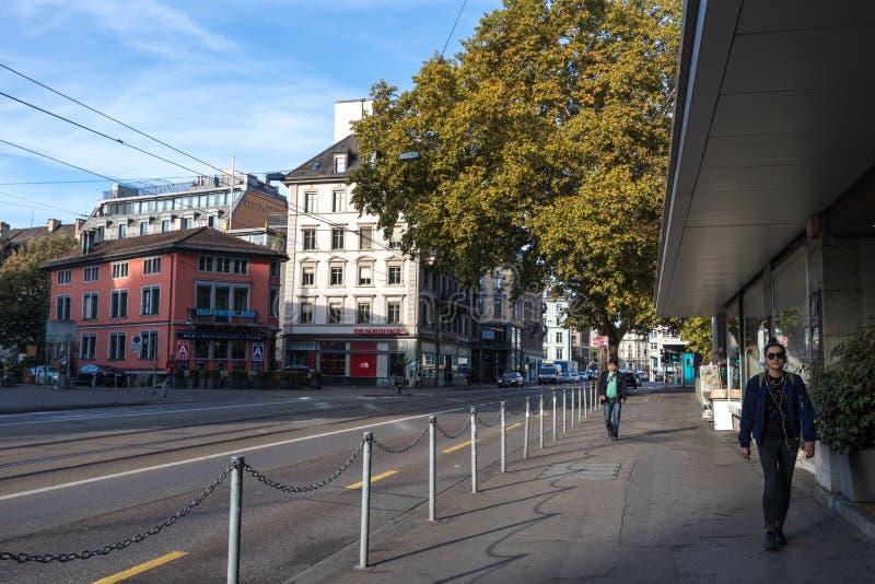 25/08/2018 - Zurigo, Swtizerland Vista della strada centrale di Zurigo fotografia stock