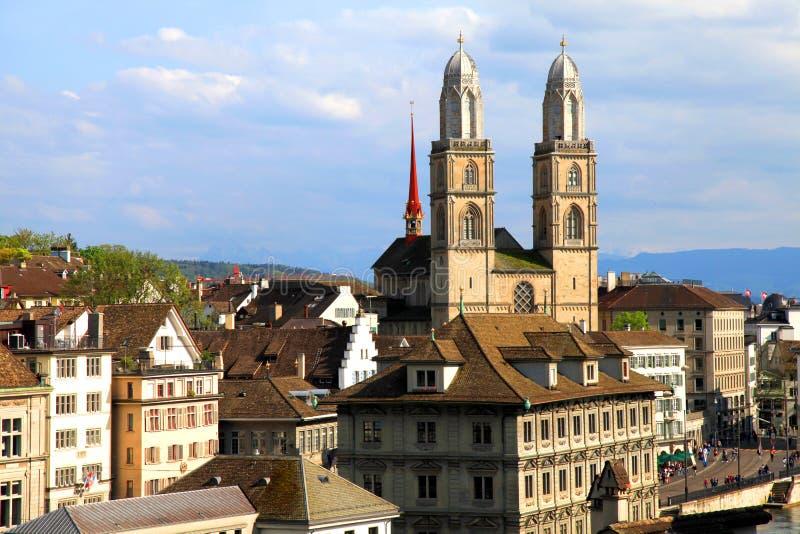 Zurique Grossmunster, Suíça fotografia de stock