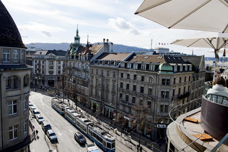 Zurique, vista aérea Bahnhofstrasse fotografia de stock