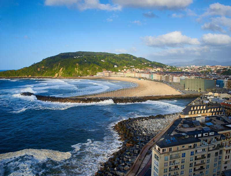 Zurriola beach at the mouth of the Urumea river. Donostia. royalty free stock photos