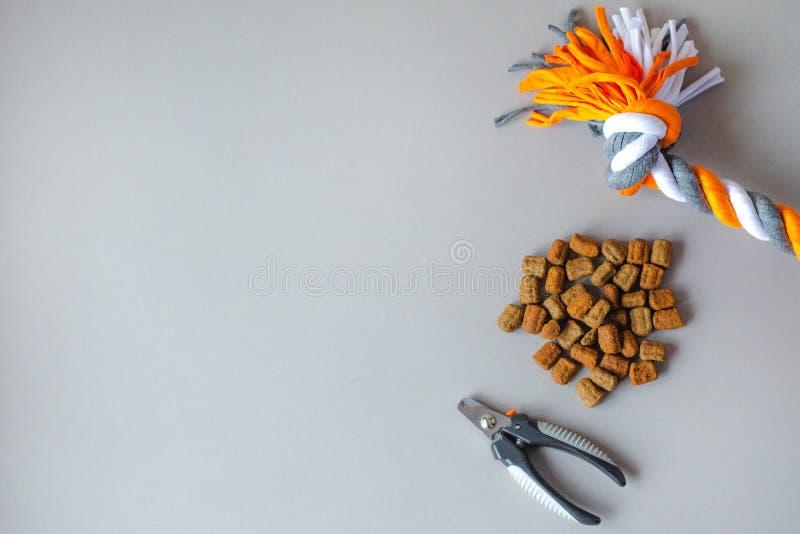 Zusätze und Nahrung für Haustiere auf einem grauen Hintergrund stockfotografie