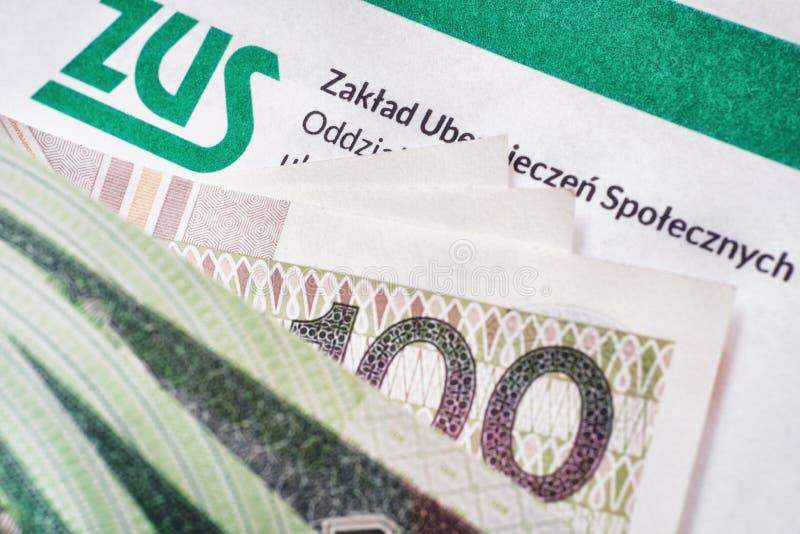 ZUS Contribución polaca del seguro nacional imagen de archivo