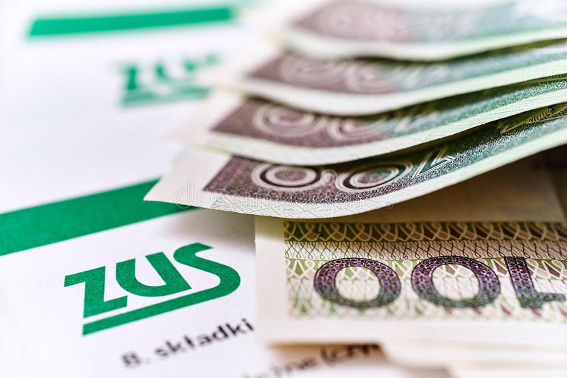 ZUS Contribución polaca del seguro nacional imágenes de archivo libres de regalías