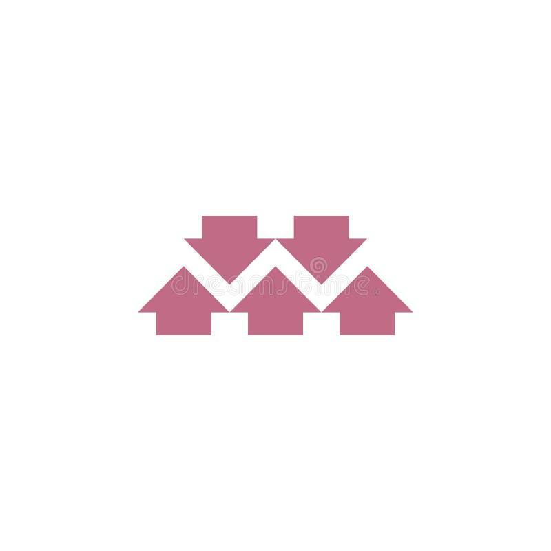 Zusammen kommen grafisches Pfeillogo, der abstrakte gebildete Buchstabe W zusammenlaufen Synergie fünf Pfeile stock abbildung