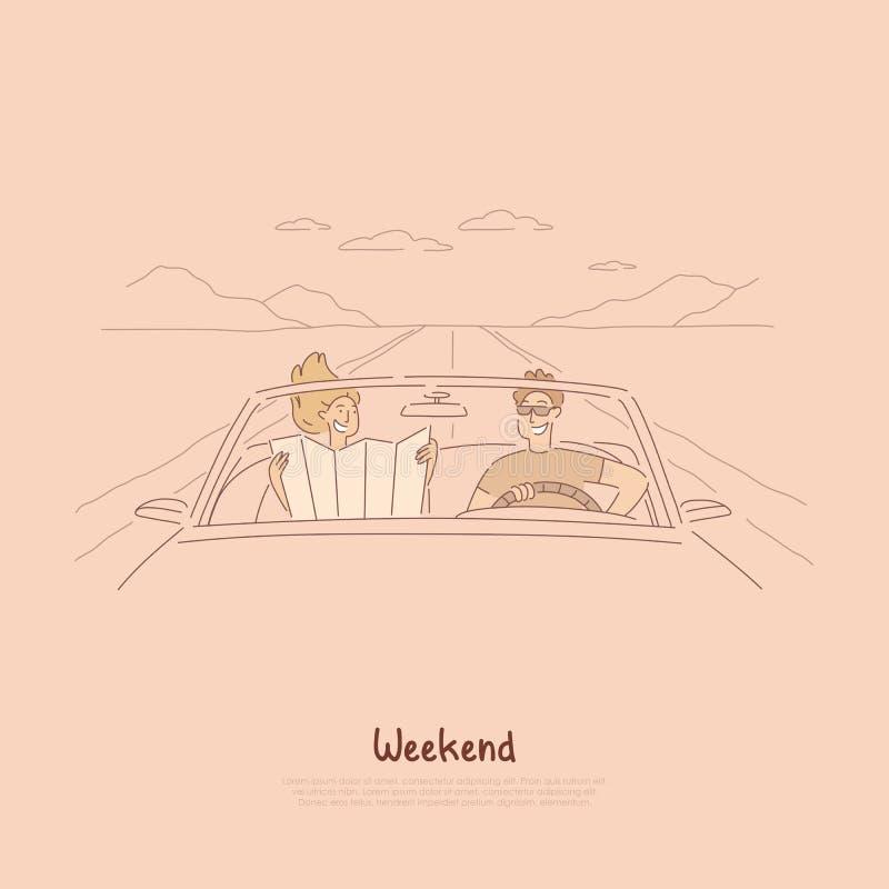 Zusammen mit dem Auto reisen, Paare auf der Autoreise, Karte betrachtend, um Weise zu finden, Sommerferien, Feiertag in der Cabri vektor abbildung